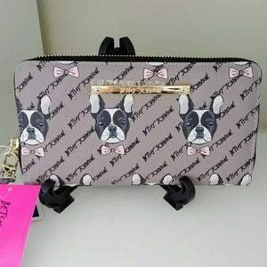 NWT Betsey Johnson Boston Terrier Taupe Wallet